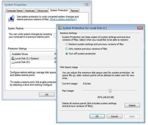 Turning off system protection